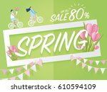 spring sale concept with couple ... | Shutterstock .eps vector #610594109