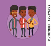 three african american friends... | Shutterstock .eps vector #610596911