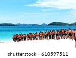 namsai beach thailand   july ...   Shutterstock . vector #610597511