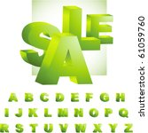 green 3d alphabet. vector set. | Shutterstock .eps vector #61059760