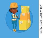 warehouse worker scanning... | Shutterstock .eps vector #610598051