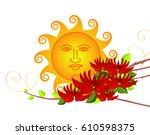 erythrina variegata flowers and ... | Shutterstock .eps vector #610598375