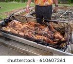 pig freshly removed from... | Shutterstock . vector #610607261