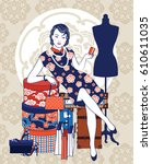 vector of chinese vintage lady... | Shutterstock .eps vector #610611035