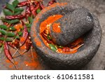 dry red kashmiri chilly  chilli ... | Shutterstock . vector #610611581