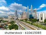kuala lumpur tower skyline in... | Shutterstock . vector #610615085