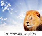Lion On A Sky Background