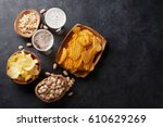 lager beer glasses and snacks... | Shutterstock . vector #610629269