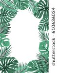 exotic tropical jungle... | Shutterstock .eps vector #610636034