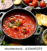 tomato soup with roasted... | Shutterstock . vector #610640255