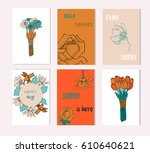 set of artistic creative summer ... | Shutterstock .eps vector #610640621
