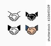 handshake icon simple...   Shutterstock . vector #610645109
