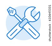 screwdriver and wrench. linear... | Shutterstock .eps vector #610645331