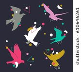 birds silhouette vector... | Shutterstock .eps vector #610646261