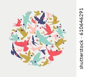 birds silhouette vector... | Shutterstock .eps vector #610646291
