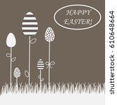 easter postcard. growing eggs... | Shutterstock .eps vector #610648664