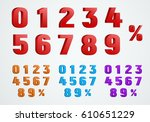 set of 3d numbers from 0 to 9... | Shutterstock .eps vector #610651229