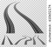 curved tire tracks stretching... | Shutterstock .eps vector #610652174