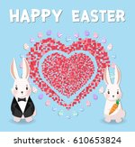 easter bunnies and easter eggs. ...   Shutterstock .eps vector #610653824