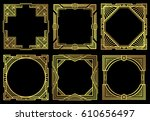 art deco nouveau border frames... | Shutterstock .eps vector #610656497
