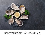 opened oysters  ice and lemon... | Shutterstock . vector #610663175