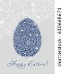stock vector easter doodle egg. ... | Shutterstock .eps vector #610668671