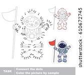 astronaut. dot to dot... | Shutterstock .eps vector #610672745