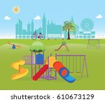playground in the public park... | Shutterstock .eps vector #610673129