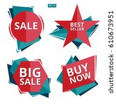 collection of sale discount... | Shutterstock .eps vector #610673951