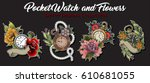 pocket watch and flowers set   Shutterstock .eps vector #610681055