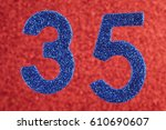 number thirty five blue color... | Shutterstock . vector #610690607