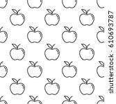 pattern with thin line apples  | Shutterstock .eps vector #610693787