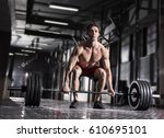 young shirtless cocnentrated... | Shutterstock . vector #610695101