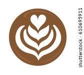 tulip heart and rosetta latte... | Shutterstock .eps vector #610695911