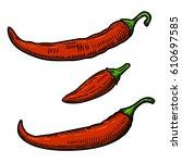 set of chili pepper... | Shutterstock .eps vector #610697585