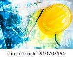 industry 4.0 concept. double... | Shutterstock . vector #610706195