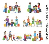 family out on shopping.... | Shutterstock .eps vector #610714325