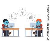blue businessman sharing... | Shutterstock .eps vector #610720511