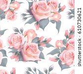 english roses seamless pattern. ... | Shutterstock .eps vector #610730621