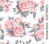 english roses seamless pattern. ... | Shutterstock .eps vector #610730621