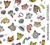 cartoon cats and dogs   funny...   Shutterstock .eps vector #610733681