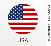 Flag Of Usa Round Icon Or Badg...