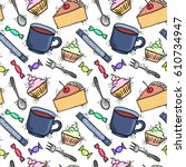 teatime seamless pattern   cups ... | Shutterstock .eps vector #610734947