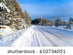 winter snow road landscape | Shutterstock . vector #610736051