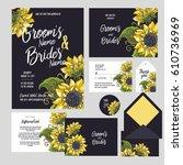 set of templates  for wedding... | Shutterstock .eps vector #610736969