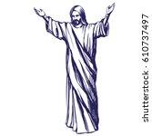 jesus christ  the son of god  ... | Shutterstock .eps vector #610737497