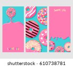 a set of three posters of donuts | Shutterstock .eps vector #610738781