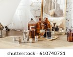different vintage dishes ... | Shutterstock . vector #610740731