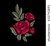 Embroidered Red Roses. Red...