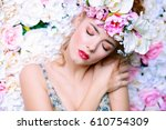 beautiful romantic young woman... | Shutterstock . vector #610754309